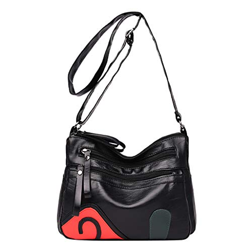 Crossbody Shoulder Bag,AfterSo Women Casual Solid Color Leather Wild Pouch Messenger Bag (Black)