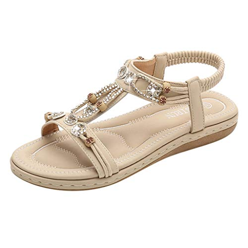 Kauneus Summer Flat Gladiator Sandals for Women Comfortable Casual Beach Shoes Platform Bohemian Beaded Flip Flops Sandals Beige