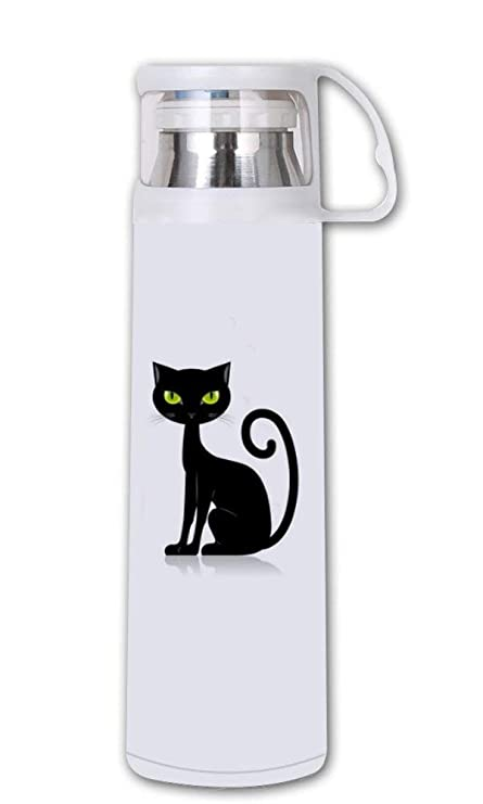 Amazon.com: COL DOM - Termo con diseño de gato negro – ojos ...