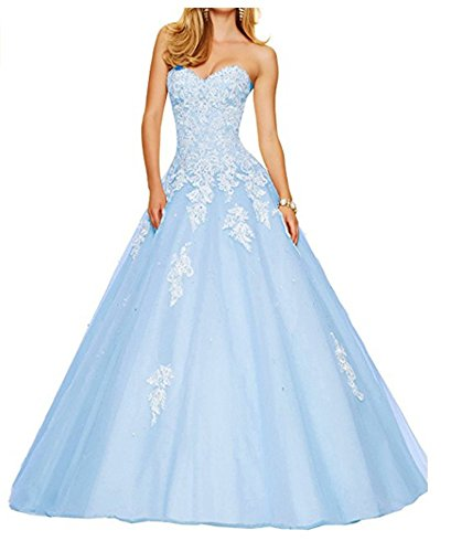 Ball Sweetheart Crystals Blue Quinceanera Light Angela Beaded Dresses Women's Lace Gown aX155OW6n