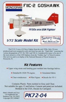 - Revell Monogram F11C2 Goshawk 1930s USN Fighter Limited Edition Kit 1:72 Scale Military Model Kit