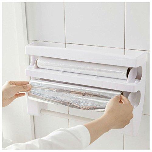 Kitchen Roll Dispenser Cling Film Tin Foil Towel Holder Rack Wall Mounted New (Roll Film Holder)