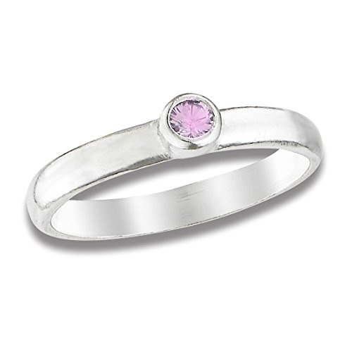 Older Sibling Costumes (Beloved Child Goods Sterling Silver Baby Ring, Pink Colored Cubic Zirconia, Size 0)