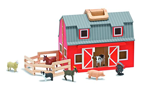 Melissa & Doug Fold and Go Wooden Barn With 7 Animal Play Figures (Set Barn Wooden)