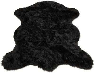 Fur Accents Faux Pelt Rug 3 X 5 Black Sheepskin Bear Skin Area Rug