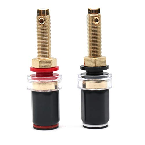 - ZXHAO 65mm/2.56 inch Length Pure Copper Gold Plated Amplifier Audio Output Seat Welding-free Wire Column 4mm Audio Banana Socket Terminal 1pair