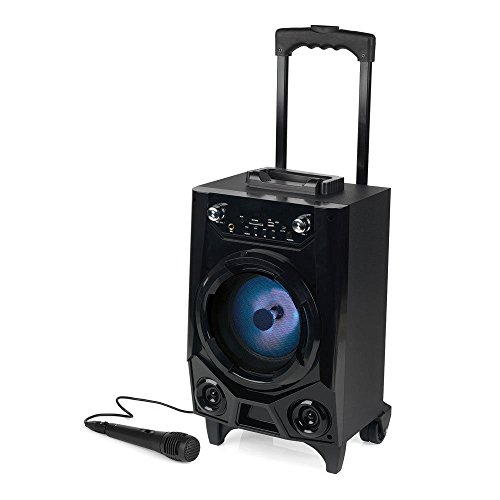 Portable Wireless Bluetooth Tailgate LED Speaker w//Built-in Rechargeable Battery, FM Radio/USB/SD Slot/Karaoke Transport Wheels & Singing Microphone(Black)