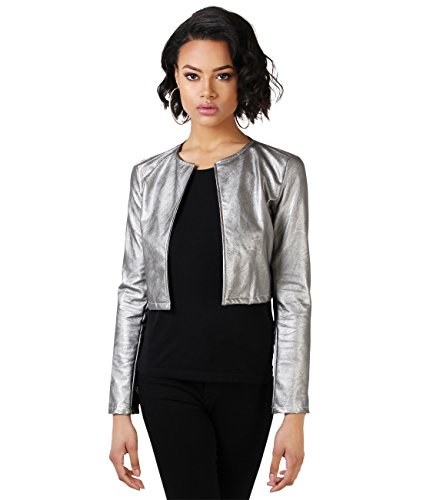 KRISP Womens Ladies PU Leather Cropped Jacket Open Blazer Long Sleeve Bolero Shrug Coat (Large, Gunmetal) -