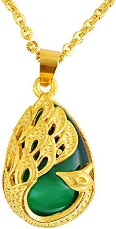 Colgante de pavo real chapado en oro con ópalo, piedras preciosas finas de latón chapado en oro