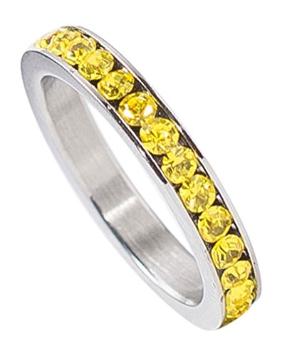 (Birthstone Eternity Ring~November~Stainless Steel~Cubic Zirconia CZ Band~Citrine~Yellow Crystals~Stackable~Mother's Ring~Children's Ring~Women's Jewelry (9))