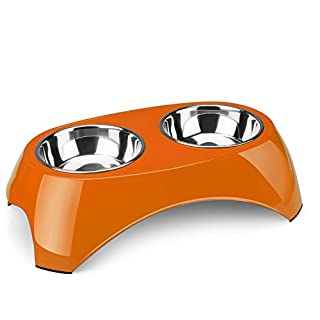 Flexzion Pet Feeder Double Stainless Steel Dog Bowl Set of 2 Bowls - Removable Raised Elevated Feeding Station Tray Stand Holder Dish Container Table for Puppies Animal Food Meal Water (Orange)