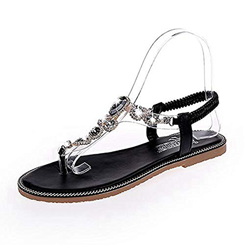 Flip Thongs Sandals Flops Flat Black T on Bohemia Diamond Strap Dress Strappy Women Shoes Slip Elastic qCHwvt1E