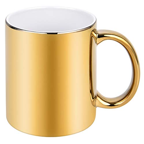 Funny Coffee Mug, Gold Electroplated Ceramic Coffee Mug, 11 Ounce Coffee Mug Cup, Novelty Gift Funny Mug for Men Women