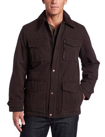 Tommy Hilfiger Men's Washed Cotton 4 Pocket Barn Jacket, Dark Brown, Medium