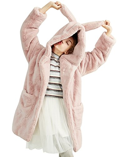 Choies Women's Pink Oversized Hooded Faux Fur Coat Outewear - Hood For Faux Fur Juniors Coats