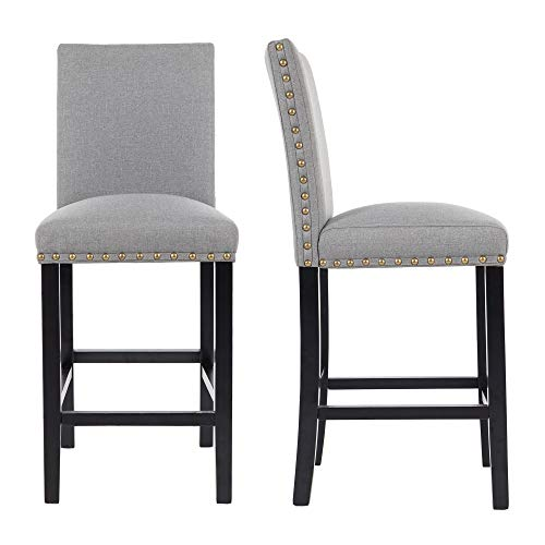 GOTMINSI Upholstered Counter Height Stools, 24 Inches Bar Stools with Bronze Headnails and Solid Wood Legs, Set of 2 (Gray) (Linen Stool Grey Counter)
