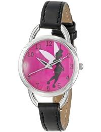 Women's TK1036 Tinkerbell Hot Pink Sunray Dial Black Strap Watch