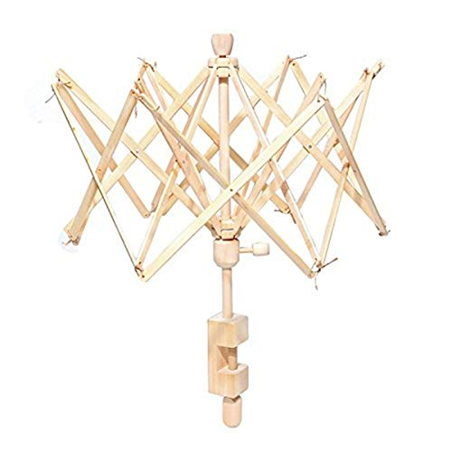 Umbrella Swift Yarn Winder, Wooden (Birch) Hand Operated Bobbin Winder Holder Knitting Tool for Wool String 1 Pack