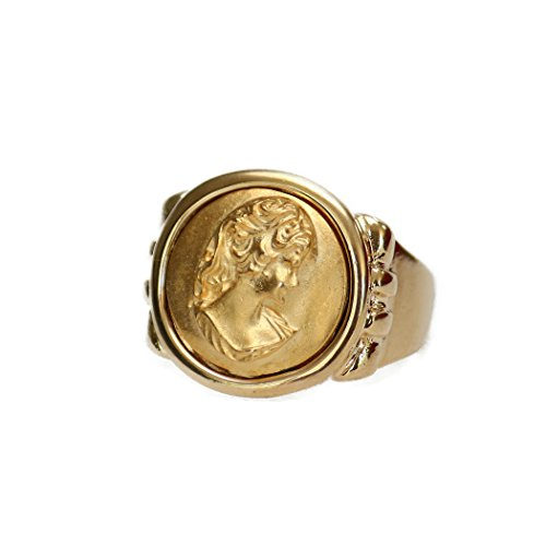 - Providence Vintage Jewelry Matte Gold Tone Cameo 18k Yellow Gold Electroplated Ring