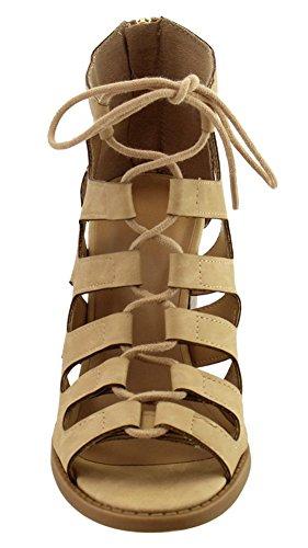 Cambridge Select Women Open Teen Lace-up Caged Uitgesneden Chunky Stacked Block Heel Enkellaarsje Beige Nbpu