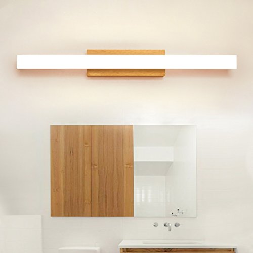 Solid Wood, Mirror Light, LED Wall Washer, Mirror Light Cabinet Light, Bathroom Simple Dresser Wall Light, Warm Light (Size : 60CM 10W) by Mingteng (Image #4)