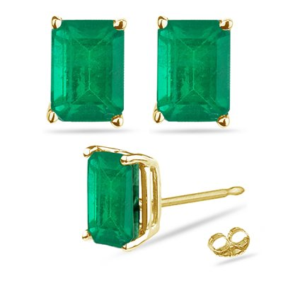 - 0.43-0.65 Cts of 5x3 mm AA Emerald Cut Natural Emerald Stud Earrings in 18K Yellow Gold