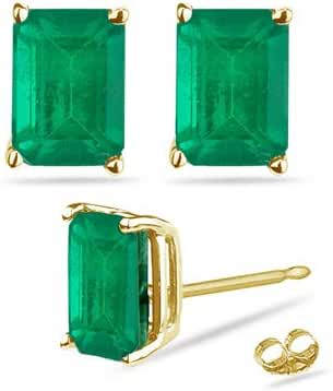 0.43-0.65 Cts of 5x3 mm AA Emerald Cut Natural Emerald Stud Earrings in 18K Yellow Gold