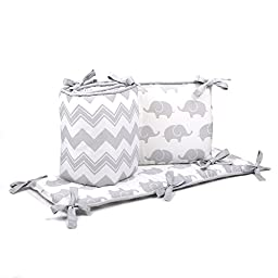 Chevron and Elephant Reversible Crib Bumper in Grey by The Peanut Shell