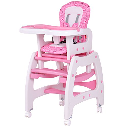 Costzon 3 in 1 Infant High Chair Convertible Play Table Seat Booster with Feeding Tray (Pink)