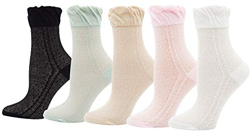Lovful 5 Pairs Silky Hollow Out Transparent Elastic Ankle Socks Summer Thin Mesh Fishnet Tights for Woman, Silky Style