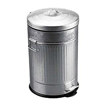 Balvi Poubelle Basics Avec Récipient Intérieur Amovible De 20 L Avec Pédale Avec Anses Design Rétro Inox Plastique 47x29 Cm