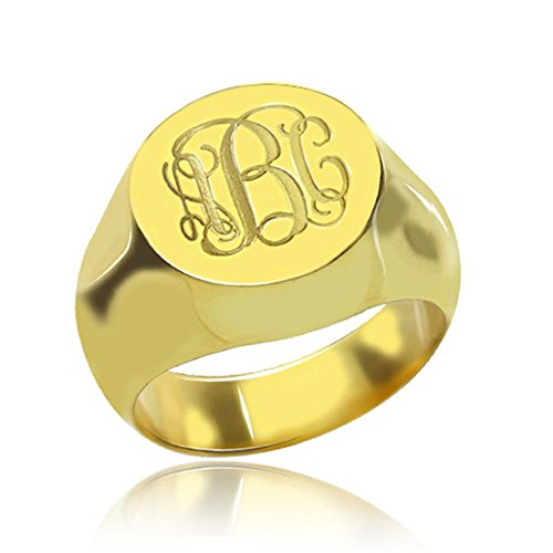 925 Sterling Silver Personalized Signet Radiant Monogram Ring Custom Made with Any Initials ()