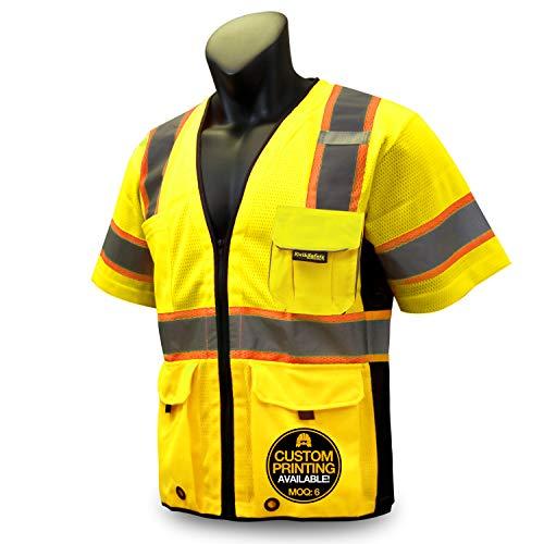KwikSafety (Charlotte, NC) EXECUTIVE Class 3 ANSI Safety Vest OSHA High Visibility Reflective Stripes Heavy Duty Mesh Pockets and Zipper Hi-Vis Construction Work Hi-Viz Surveyor Men   Yellow 2XL/3XL ()