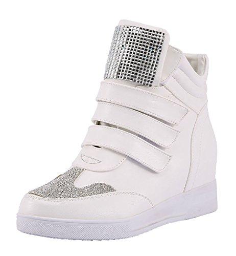 Laikakingdom Magic Tape Closure Fashionable Women's Increased Within Shoes(7 B(M) US, White)