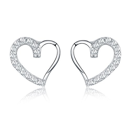 Earrings Silver Shape Heart Sterling (AoedeJ Open Heart Stud Earrings 925 Sterling Silver Earrings Inlay CZ Stone Girls and Women Earrings (Heart style 3))