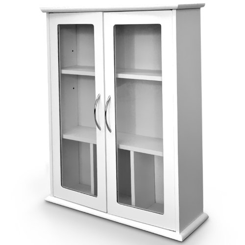Wall Cabinet Bathroom Showcase Glass Doors White Wood 53 X 16 X 62