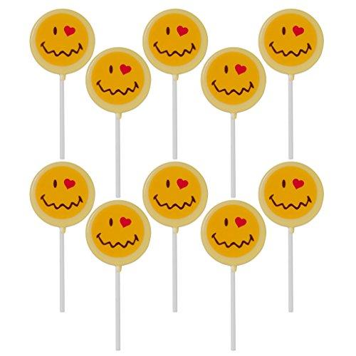 Smiley Face Lollipops - Smiley World Emoji Face Expressions White Dairy Milk Chocolate Lollipops Sucker