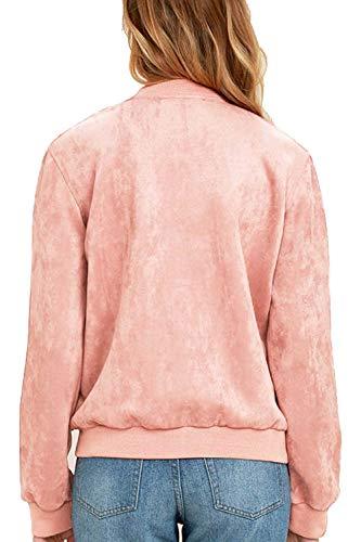 Stlie Primaverile Autunno Donna Accogliente Giaccone Bottoni Elegante Alla Outerwear Cappotto Lunga Grazioso Giacca Pink Fit Colore Manica Chiusura Fashion Slim Casuali Puro Moda zqz1rxg8w
