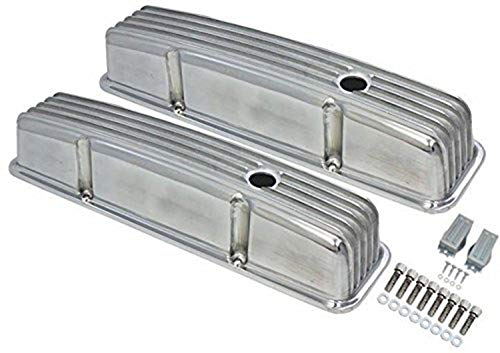 A-Team Performance Tall Finned Polished Aluminum Valve Covers Compatible with 58-86 Chevrolet SBC Small Block Chevy 283 327 350 400 ()
