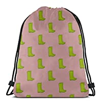 Unisex Single-sided Printing Cute Cartoon Beautiful Rain Boots Drawstring Cosmetic Travel Bag Polyester Backpacking String String Backpack For Gym Outdoor Travel