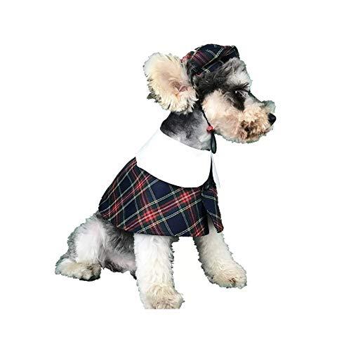 CheeseandU 2Pack Pet Halloween Costume Pet Dog British Style Cute Cloak and Hat Set Plaid Pet Collar Dog Cat Gentlemen…