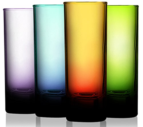 Attractive Set of Four (4) Unique Colored Islande Cordial Shot Glassware 2 oz. - Party Drinking Glassware Set by TableTop King