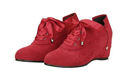 Donna Ballet Rosso Tacco Flats Puro Tonda Punta VogueZone009 Plastica Allacciare Medio PwdRxSq8