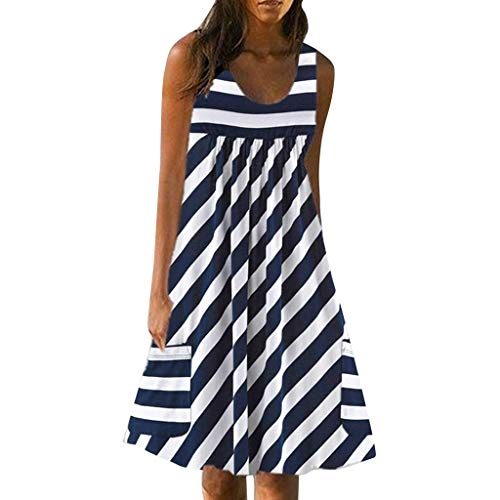 Women's Stripe Dress,Summer Casual Mini Dress Pocket Sleeveless Dress Changeshopping Blue