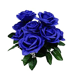 MARJON FlowersRomantic Decoration Fake Artificial Rose Flower Bouquet Bridal Home Wedding Office Decorative Props (Navy Blue) 106