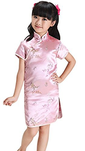 Suimiki Girls Kids Plum Flower Bamboo Chinese Qipao Cheongsam Dress Costume Pink (Chinese Costumes For Girls)