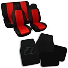 FH GROUP FH-FB102112 + C14403 Combo Set: Red / Black Classic Cloth Universal Full Set Car Seat Covers With Black Carpet Floor Mats - Fit Most Car, Truck, Suv, or Van