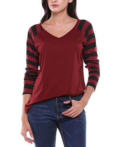 Zeagoo Women's Long Sleeve Stripe Pattern Loose Fit Tunic Tops Wine Red XL
