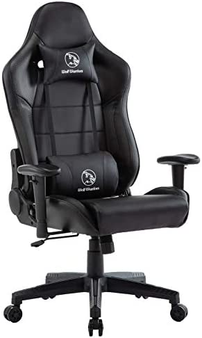 Gaming Chair Ergonomic Computer Game Chair Seat Height Adjustment Recliner Swivel Rocker E-Sports Office Chair with Headrest and Lumbar Pillow Black