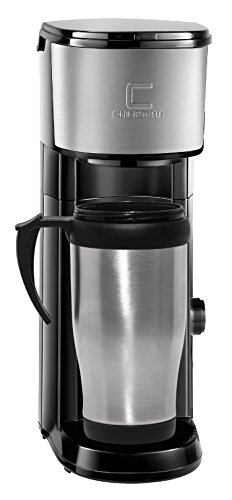 Chefman Coffee Maker K-Cup VersaBrew Brewer with included BONUS TRAVEL MUG and FREE FILTER For Use With Coffee Grounds – Rapid Boil – Small Footprint Single Serve – RJ14-SKG-M